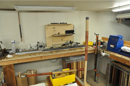 Here is a view of one the dedicated cue lathes