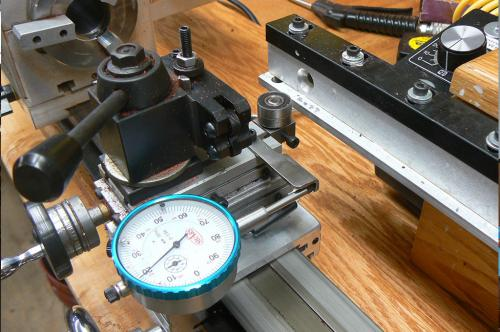 A dial indicator attached to our lathe for exact work