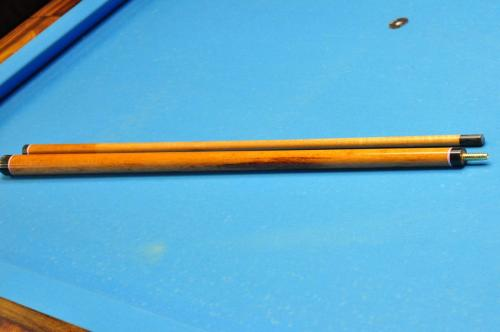 Break cue made of goncalo alves including the shaft.  Solid phenolic tip/ferule